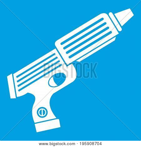 Plastic gun toy icon white isolated on blue background vector illustration
