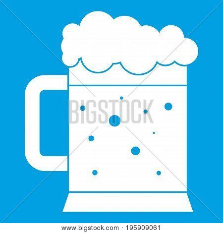 Beer mug icon white isolated on blue background vector illustration