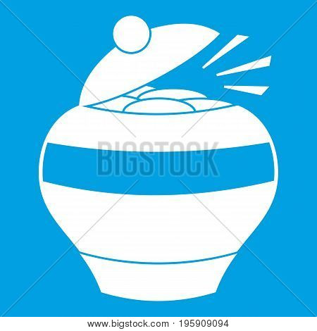 Pot full of gold coins icon white isolated on blue background vector illustration