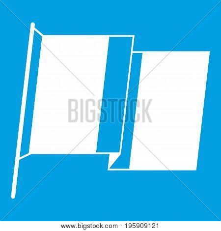 Flag of Ireland icon white isolated on blue background vector illustration