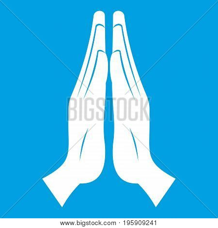 Prayer icon white isolated on blue background vector illustration