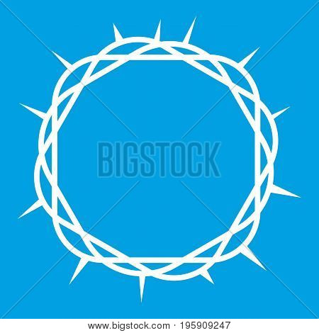 Crown of thorns icon white isolated on blue background vector illustration