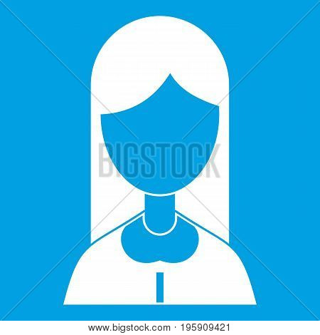 Mother icon white isolated on blue background vector illustration