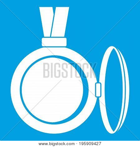 Medallion icon white isolated on blue background vector illustration