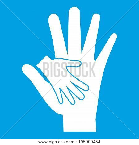 Baby and mother hand icon white isolated on blue background vector illustration