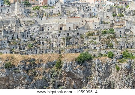 Close-up Of Typical Stones House (sassi Di Matera) Of Matera Unesco European Capital Of Culture 2019
