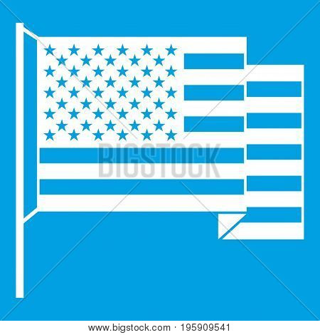 American flag icon white isolated on blue background vector illustration
