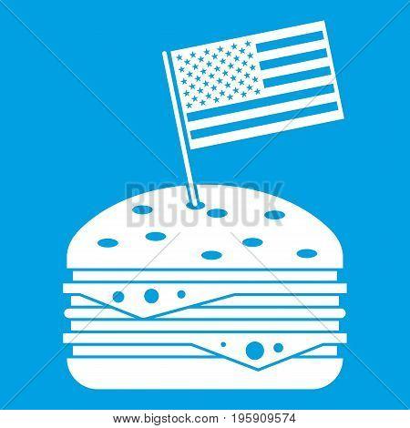 Hamburger icon white isolated on blue background vector illustration