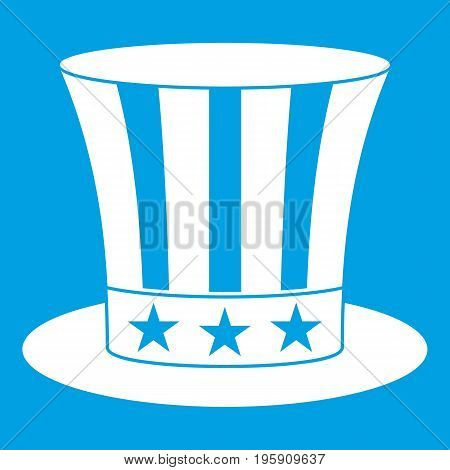 Uncle sam hat icon white isolated on blue background vector illustration