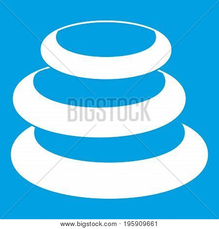 Stack of basalt balancing stones icon white isolated on blue background vector illustration