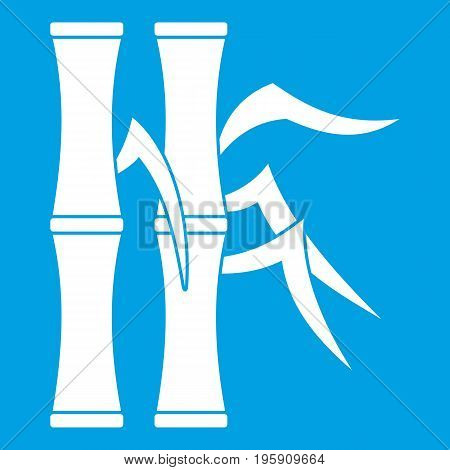 Bamboo stems icon white isolated on blue background vector illustration