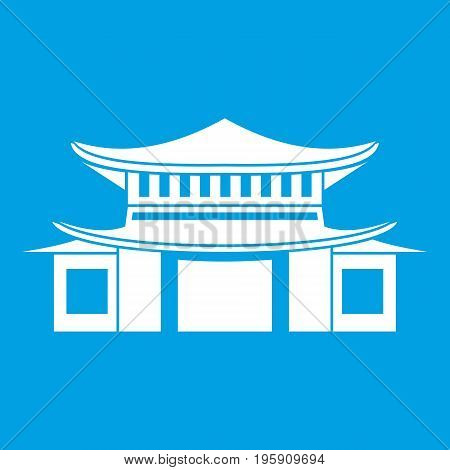 Chinese traditional building. icon white isolated on blue background vector illustration