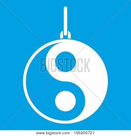 Yin Yang symbol icon white isolated on blue background vector illustration
