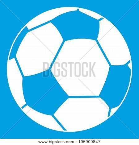 Football ball icon white isolated on blue background vector illustration