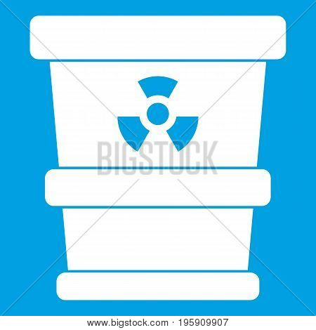 Trashcan containing radioactive waste icon white isolated on blue background vector illustration