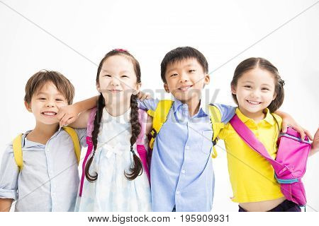 Group of happy smiling kids standing together