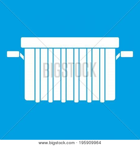 Garbage tank icon white isolated on blue background vector illustration