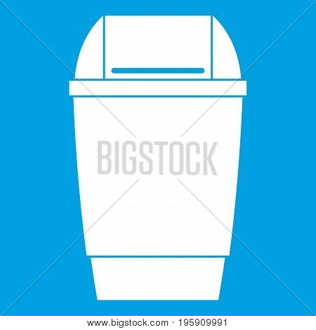 Flip lid bin icon white isolated on blue background vector illustration