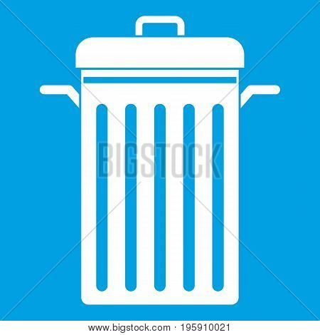Metal trash can icon white isolated on blue background vector illustration
