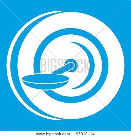 Self balancing wheel icon white isolated on blue background vector illustration