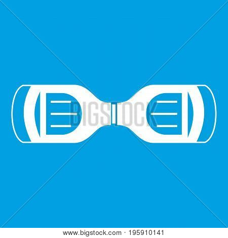 Hoverboard gyro pod top view icon white isolated on blue background vector illustration