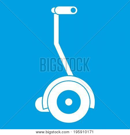 Electrical self balancing scooter icon white isolated on blue background vector illustration