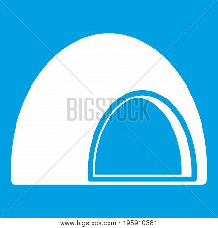 Souffle icon white isolated on blue background vector illustration