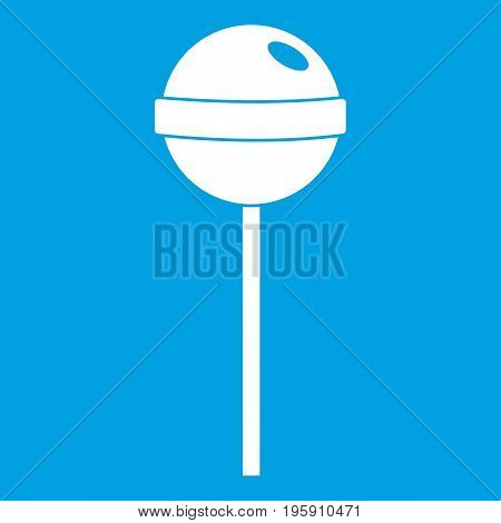 Tasty candy icon white isolated on blue background vector illustration