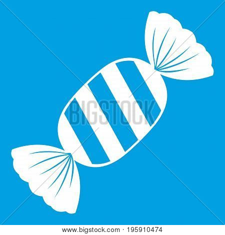 Delicious candy icon white isolated on blue background vector illustration