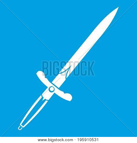 Sword icon white isolated on blue background vector illustration