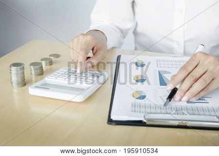 Accountant Or Banker Calculating Balance. Finances Investment Economy Saving Money Or Insurance Conc