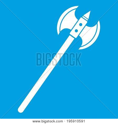 Poleaxe icon white isolated on blue background vector illustration