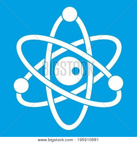 Atomic model icon white isolated on blue background vector illustration