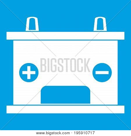 Electricity accumulator battery icon white isolated on blue background vector illustration