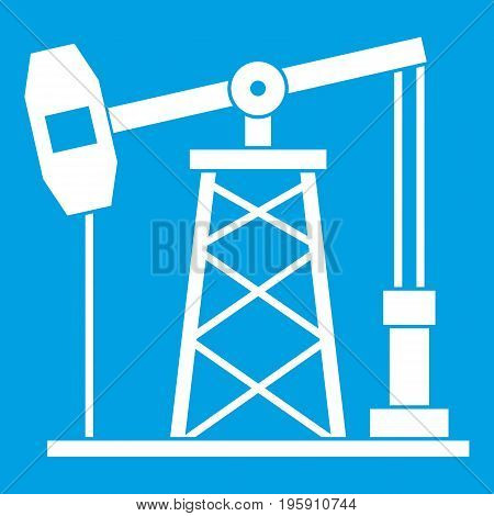 Oil derrick icon white isolated on blue background vector illustration
