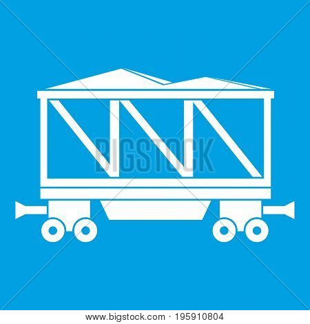 Railway wagon icon white isolated on blue background vector illustration