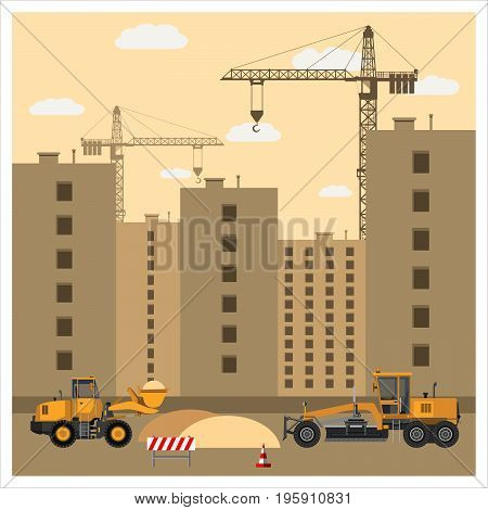 Construction site with equipment. Cranes build high-rise buildings. Tractor and grader clearing the area of sand. Construction machinery. Flat design. Vector illustration.