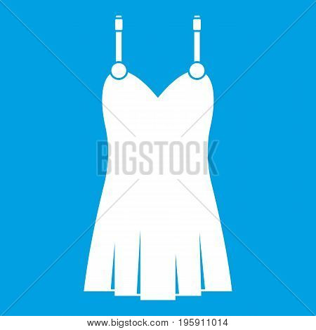 Nightdress icon white isolated on blue background vector illustration