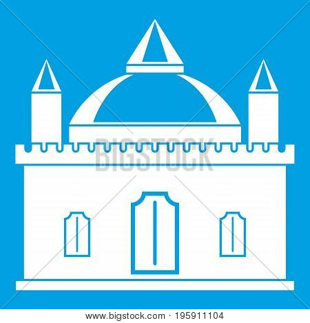 Royal castle icon white isolated on blue background vector illustration