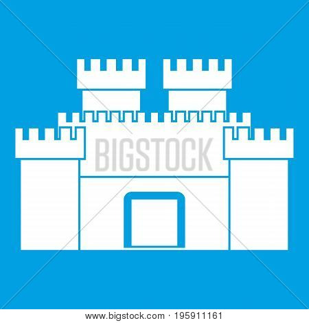 Ancient fortress icon white isolated on blue background vector illustration