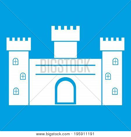 Medieval fortification icon white isolated on blue background vector illustration