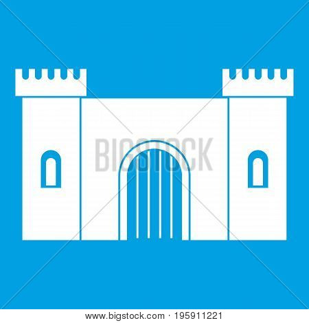 Fortress with gate icon white isolated on blue background vector illustration