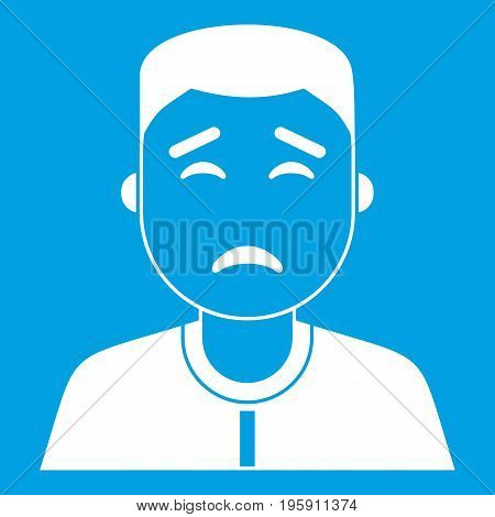 Asian man icon white isolated on blue background vector illustration
