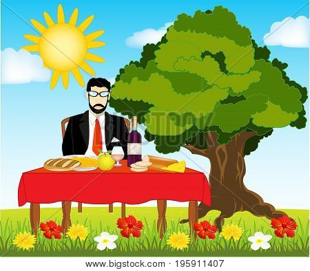 Covered table with meal and man on nature