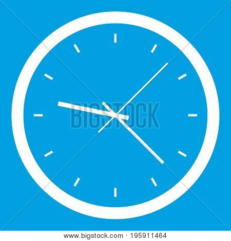 Wall clock icon white isolated on blue background vector illustration