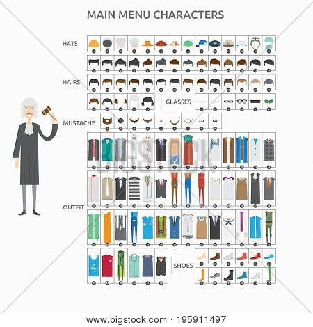 Character Creation Judge   set of vector character illustration use for human, profession, business, marketing and much more.The set can be used for several purposes like: websites, print templates, presentation templates, and promotional materials.