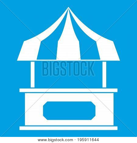 Store kiosk with striped awning icon white isolated on blue background vector illustration