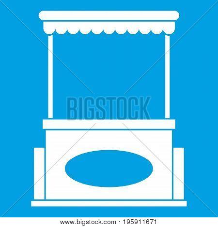 Street kiosk icon white isolated on blue background vector illustration