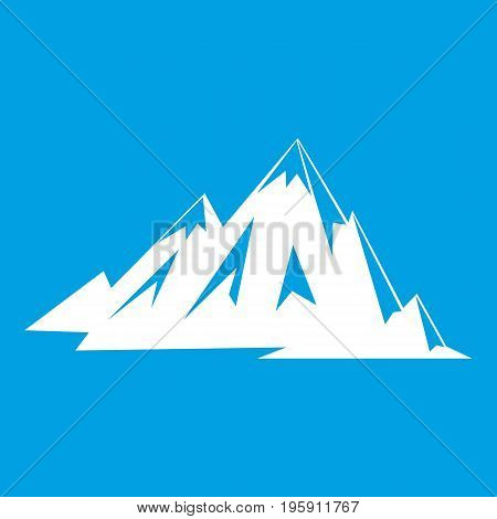 Canadian mountains icon white isolated on blue background vector illustration