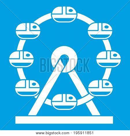 Giant ferris wheel icon white isolated on blue background vector illustration